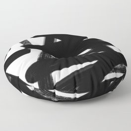 Thinking Out Loud - Black and white abstract painting, raw brush strokes Floor Pillow
