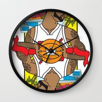 lebron Wall Clocks featuring King James by Bobby Bernethy