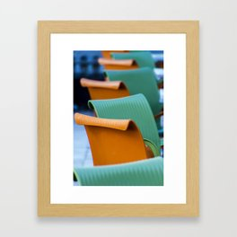 Blue Green and Orange Abstract Framed Art Print