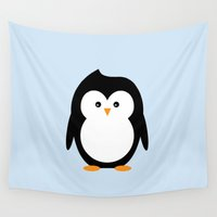 penguin Wall Tapestries featuring Penguin by fairandbright