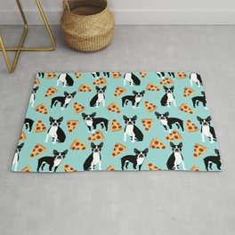 Boston Terrier pizza party cute pet portraits junk food pizza slices with boston terrier pattern  Rug
