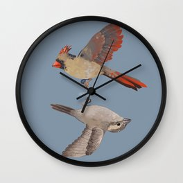 cardinal and sparrow Wall Clock