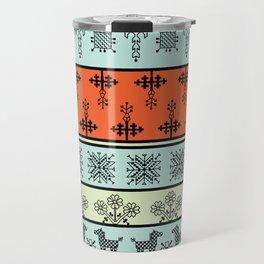 folk embroidery, flowers, birds, peacocks, horse, symbols earth, sun fertility, harvesting Travel Mug