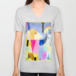 Paul Klee Black Columns in a Landscape Unisex V-Neck