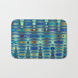 Abstract High Texture Weaving Pattern Blue Green Bath Mat