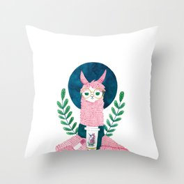 The coffee Llama Throw Pillow