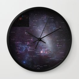 Hubble Space Telescope - The entire Large Magellanic Cloud with annotations Wall Clock