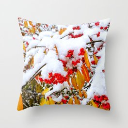 Spindle Tree Flowers Under Snow Throw Pillow