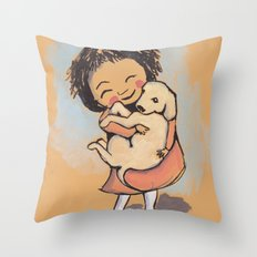 I Love Puppies Throw Pillow