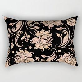 Rose-Gold & Black Floral Damasks Rectangular Pillow