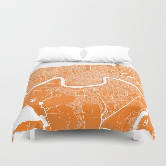 New Orleans map orange Duvet Cover