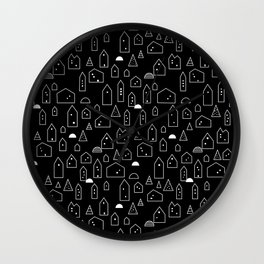 LITTLE HOUSES ((white on black)) Wall Clock