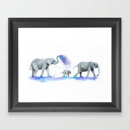 Elephants In Watercolour Framed Art Print