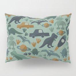 Little Boy Retro Fun Print, Robots, Dinosaurs, Cars and Rocket Ships, Minimalist Retro, Blue Pillow Sham