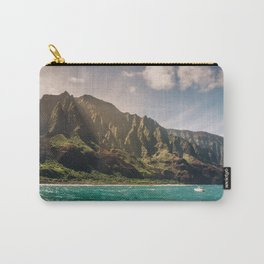 Na Pali Coast Kauai Hawaii Printable Wall Art | Tropical Beach Nature Ocean Coastal Travel Photography Print Carry-All Pouch