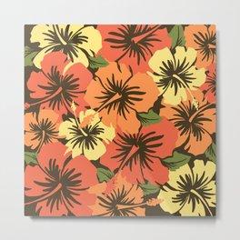 Epic Hibiscus Hawaiian Floral Aloha Shirt Print  Metal Print