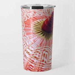 Red Silk Chinese umbrella Travel Mug
