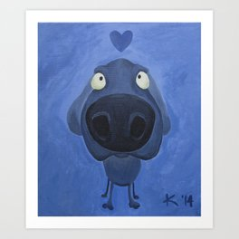 Weimaraner Love - Blue Art Print