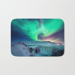 Aurora Borealis Over A Waterfall Bath Mat