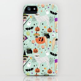 Pug halloween costumes mummy witch vampire pug dog breed pattern by pet friendly iPhone Case