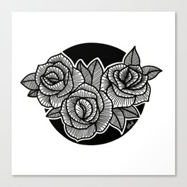 Line Work Rose Trio Canvas Print