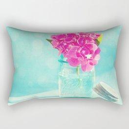 French Blue Hydrangea in a blue mason jar Rectangular Pillow