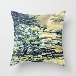 Oriental Hillside Throw Pillow