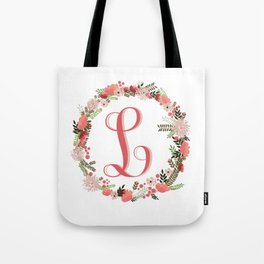 Personal monogram letter 'L' flower wreath Tote Bag