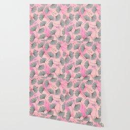 botanical biloba drawing pattern on pink watercolor marble Wallpaper