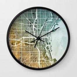 Milwaukee Wisconsin City Map Wall Clock