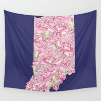 indiana Wall Tapestries featuring Indiana in Flowers by Ursula Rodgers