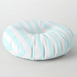 Striped- Turquoise vertikal stripes on white - Maritime Summer Beach Floor Pillow