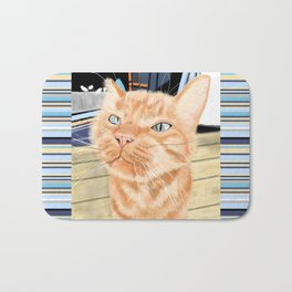 Oliver the Sniffy Red Tabby Cat Bath Mat