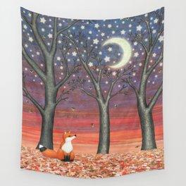 fox & fireflies Wall Tapestry