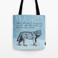 literary Tote Bags featuring White Fang - Jack London - Literary Art by pennyprintables