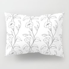 Floral Drawing in black and white Pillow Sham