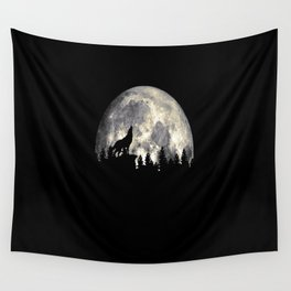 Wild Solitary Wolf Wall Tapestry