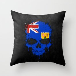 Flag of Turks and Caicos on a Chaotic Splatter Skull Throw Pillow