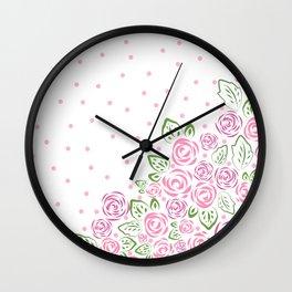 Garden Rose and Dots - Blush Wall Clock