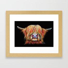 Scottish Highland Cow ' CHARMER ' by Shirley MacArthur Framed Art Print