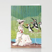 mary poppins Stationery Cards featuring Mary Poppins by Lesley Vamos