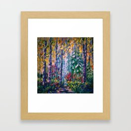 Deep in the Woods - One of the best of my forest path oil paintings with a palette knife. Framed Art Print