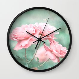 Endless Blue (vintage and pastel flower photography) Wall Clock