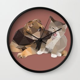 Low Poly German Shepard Puppy and Cat Wall Clock