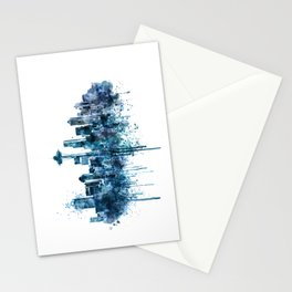 Seattle Skyline monochrome watercolor Stationery Cards