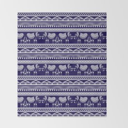 White and Navy Blue Elephant Pattern Throw Blanket