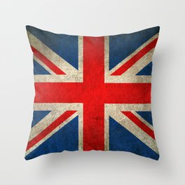 Old and Worn Distressed Vintage Union Jack Flag Throw Pillow