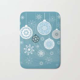 christmas balls with snowflakes on the blue Bath Mat
