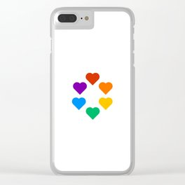 Gay Pride Rainbow Hearts Clear iPhone Case