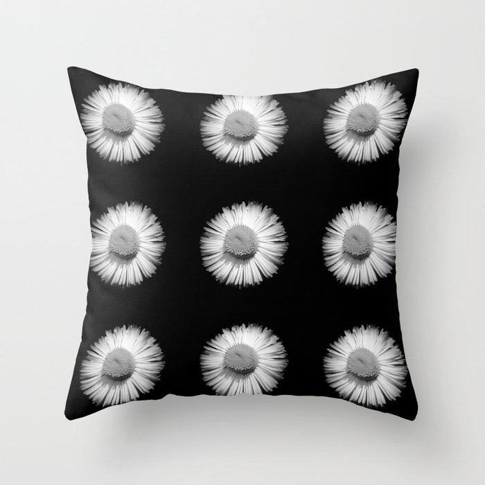 Fleabane B and W Throw Pillow